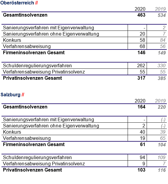 Zusammenfassung Insolvenzen - OÖ-SBG